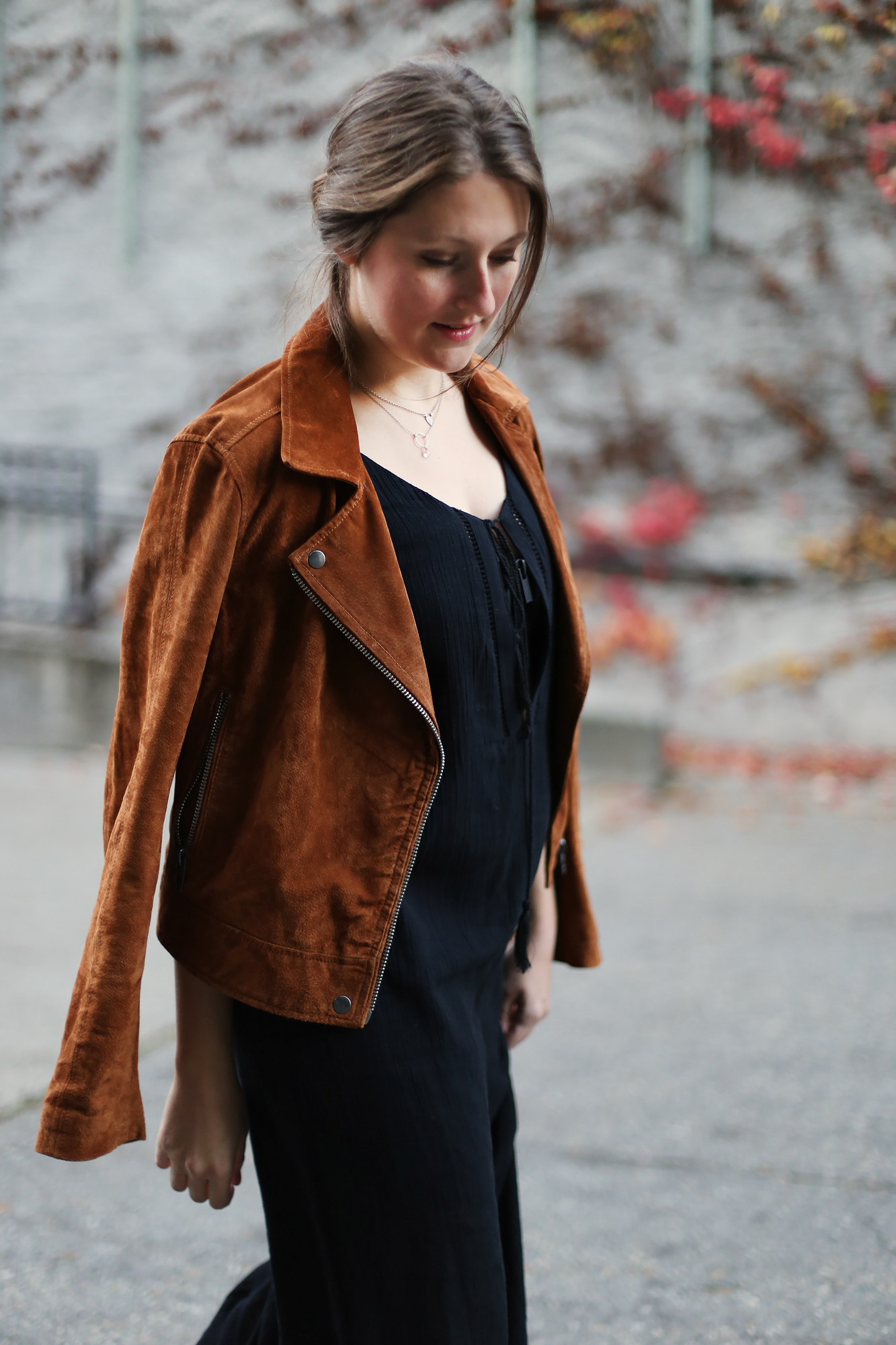 A chic fall look: Blank NYC suede moto jacket, Tobi maxi dress (currently 50% off!), Morecca clutch, and Sigerson morrison booties.