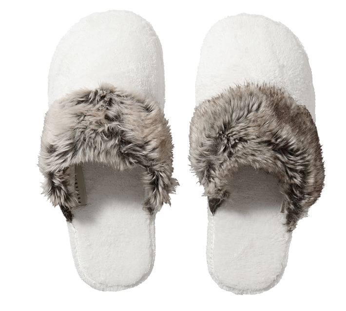 White   Faux Fur Slippers .