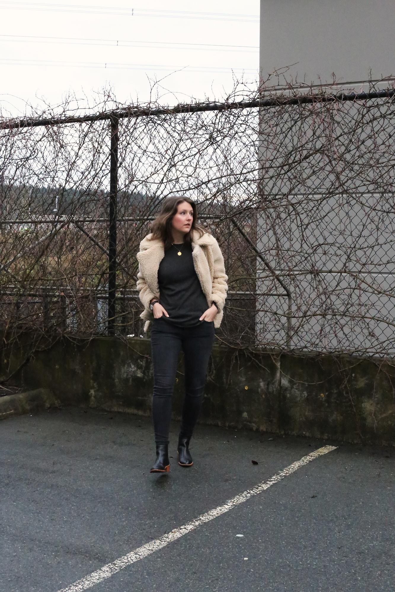 This minimalist faux shearling sherpa jacket tho. OMG. <3