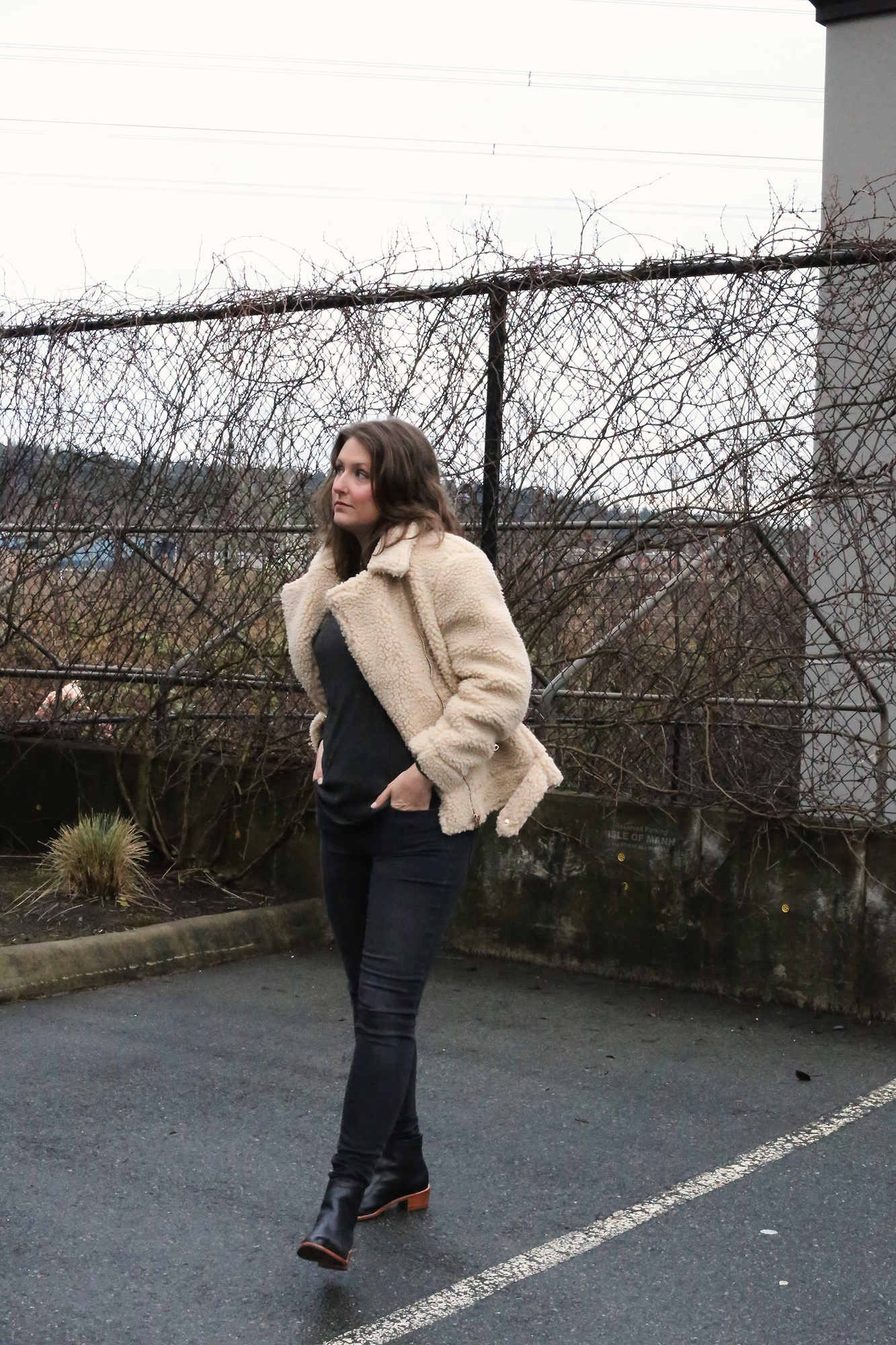 This H&M faux shearling biker jacket its SO cool.  Love that it's a little oversized and looks sooo chic! Only $70.