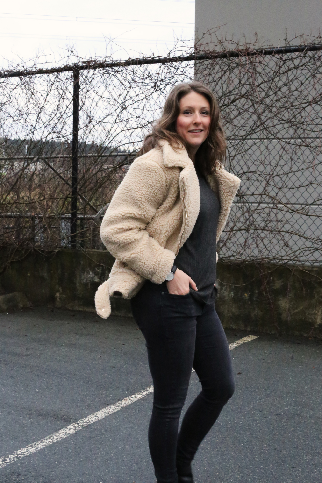 This fuzzy faux wool jacket is SO cozy! It's the 2018 it jacket - and it's only $70.