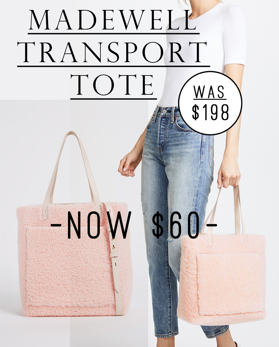 OMG THIS MADEWELL TOTE IS 70% OFF. I love the pink shearling and the size of the tote! #salealert