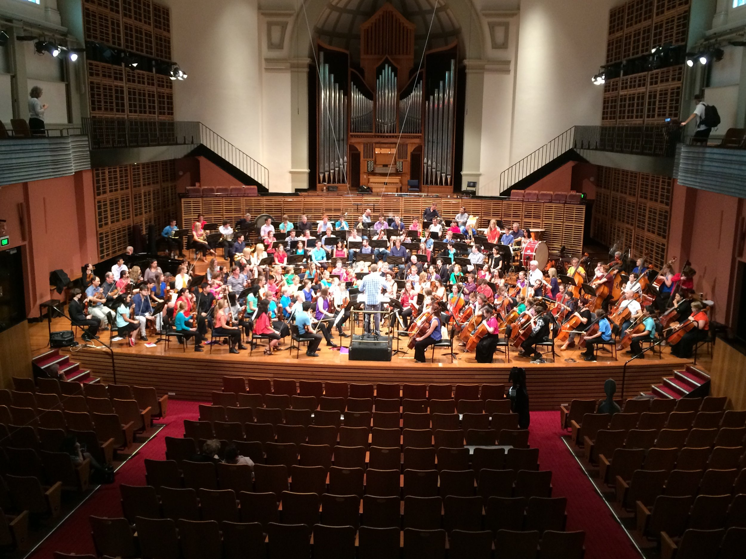 Regional Conservatorium students rehearse alongside 30 London Symphony Orchestra players in 2014.