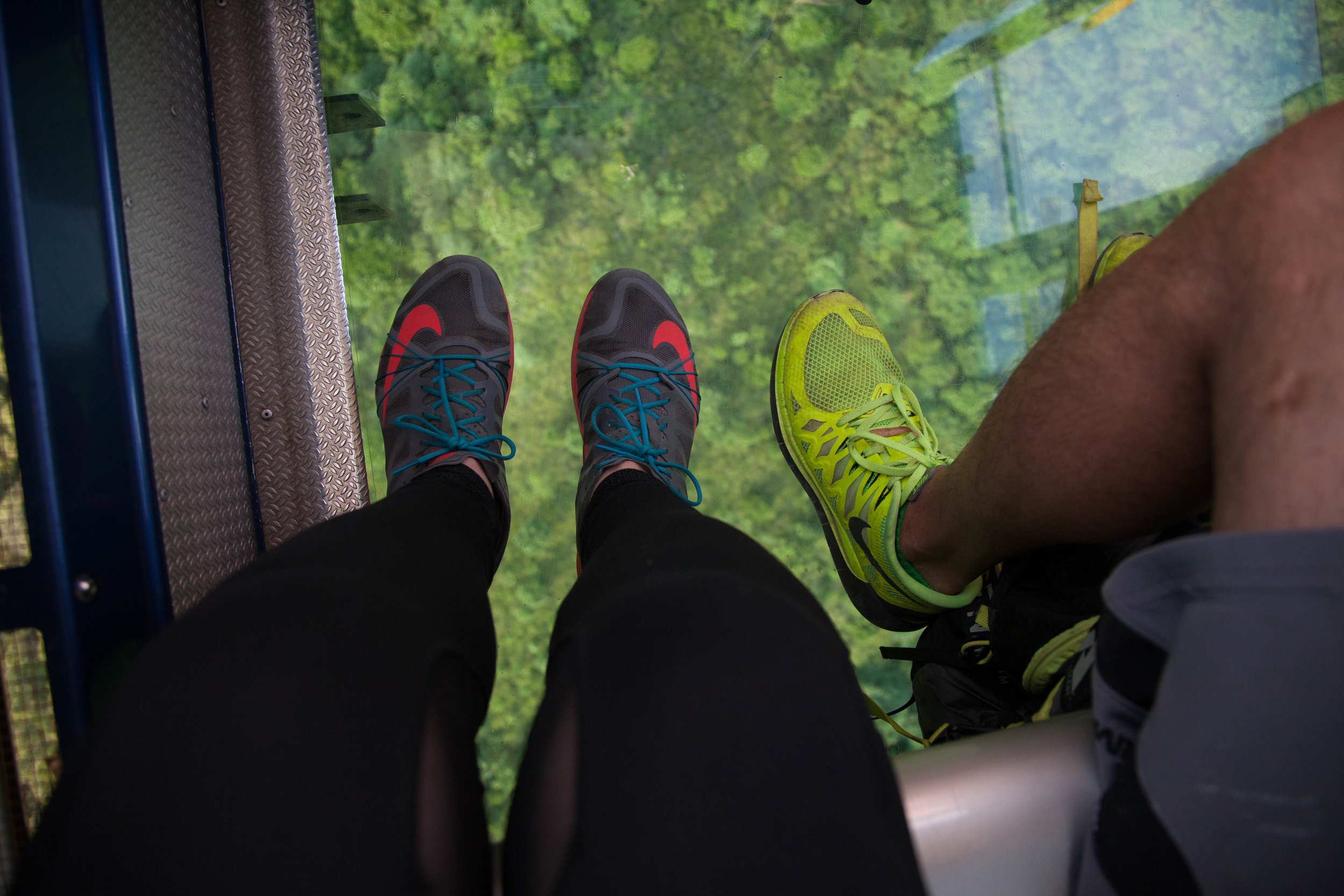 Floor of the Crystal cabin in the Nongping cable car