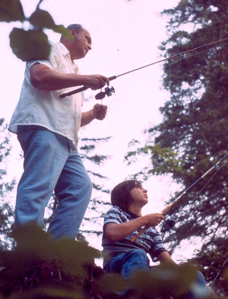 My Dad (pictured on the right) fishing with his father as a young man.
