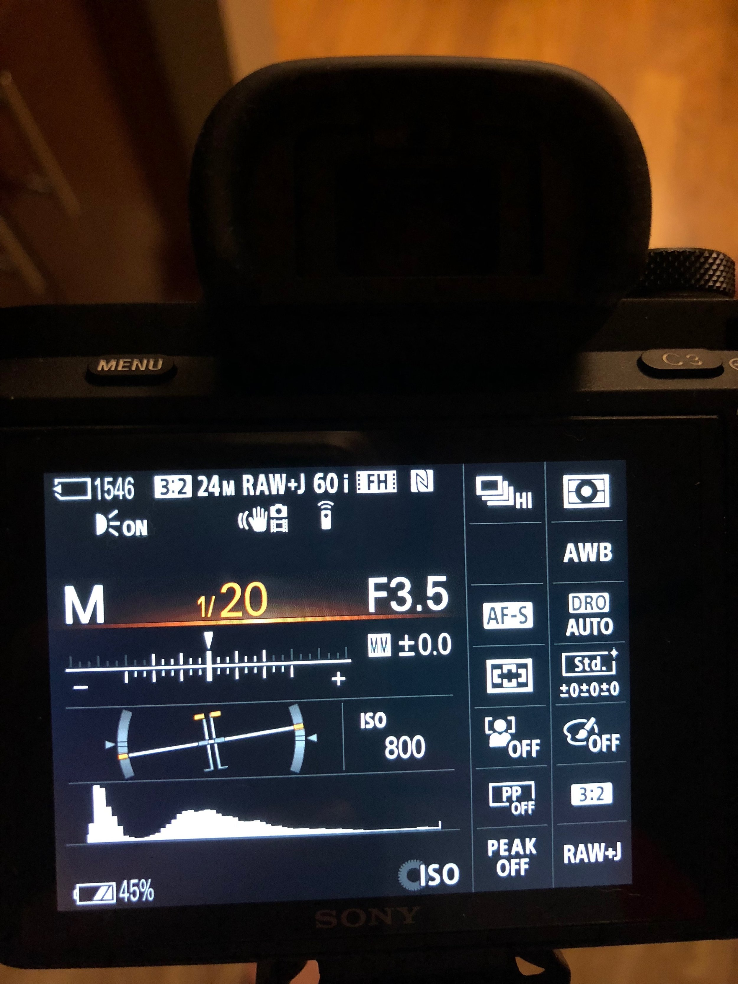 The Light Meter is in the middle, you should be able to see this when you look into your viewfinder.