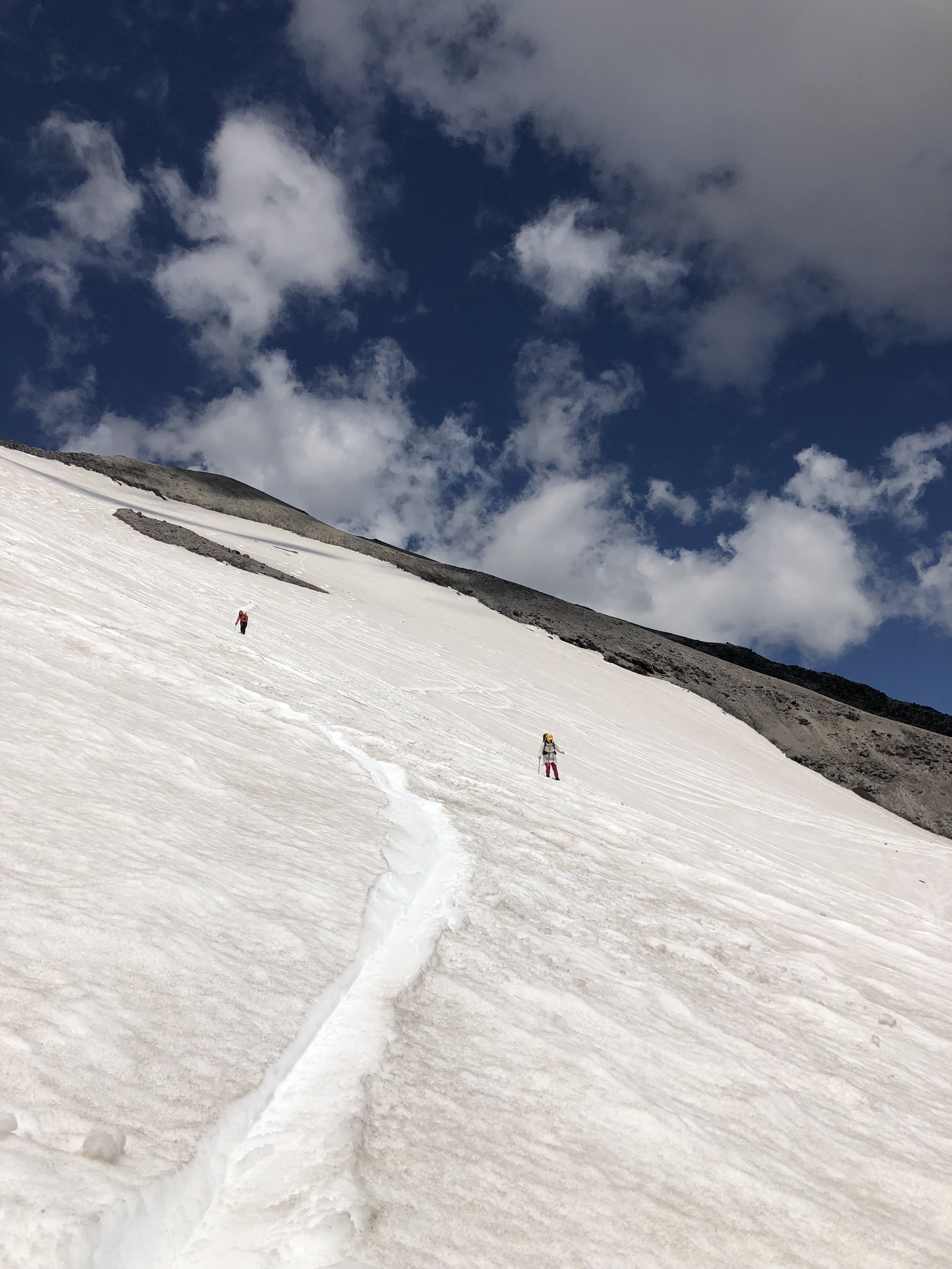 Making my way back to Doris after opting to not glissade down the sketchy steep bit!