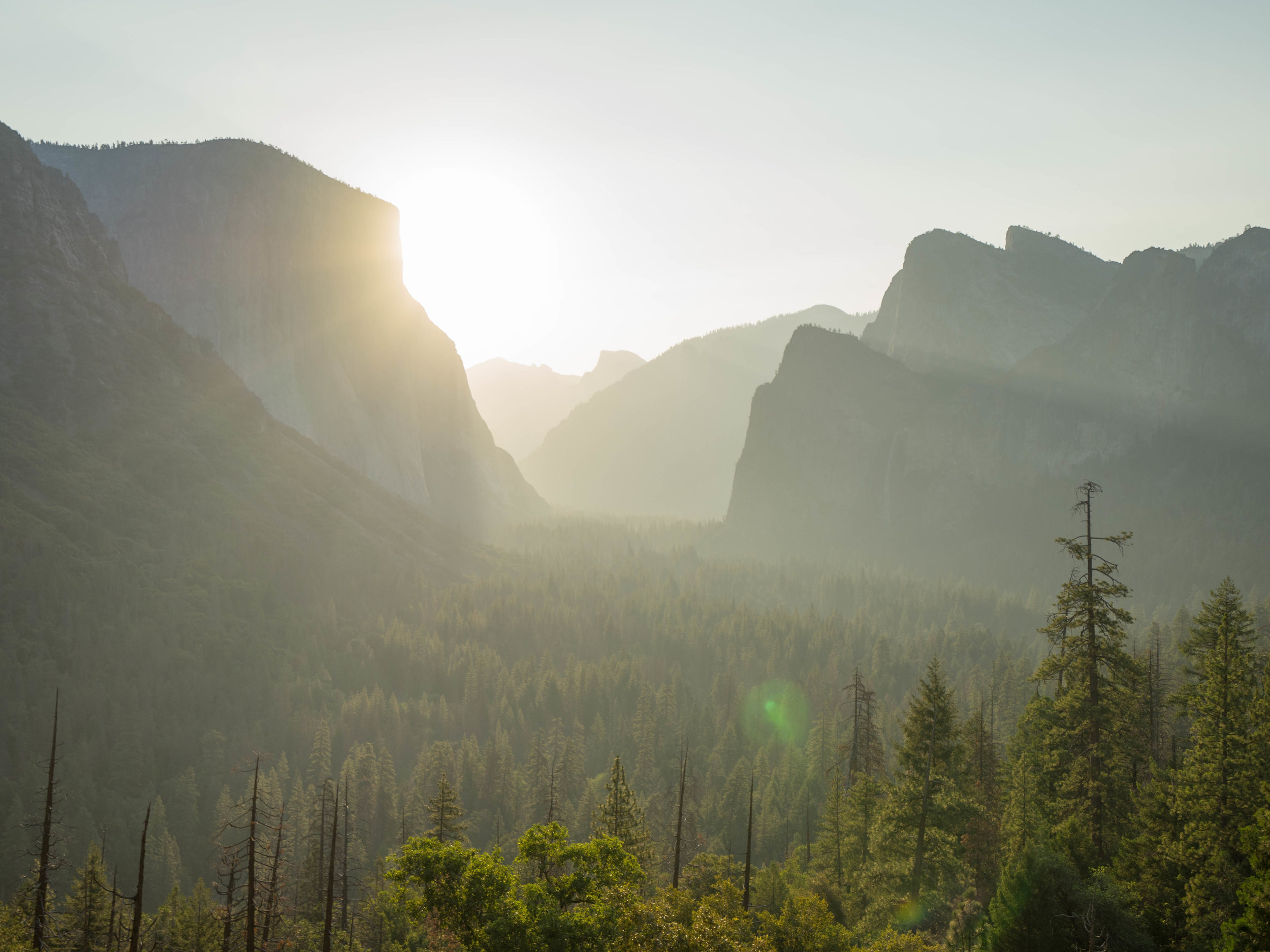 Tunnel View at sunrise.
