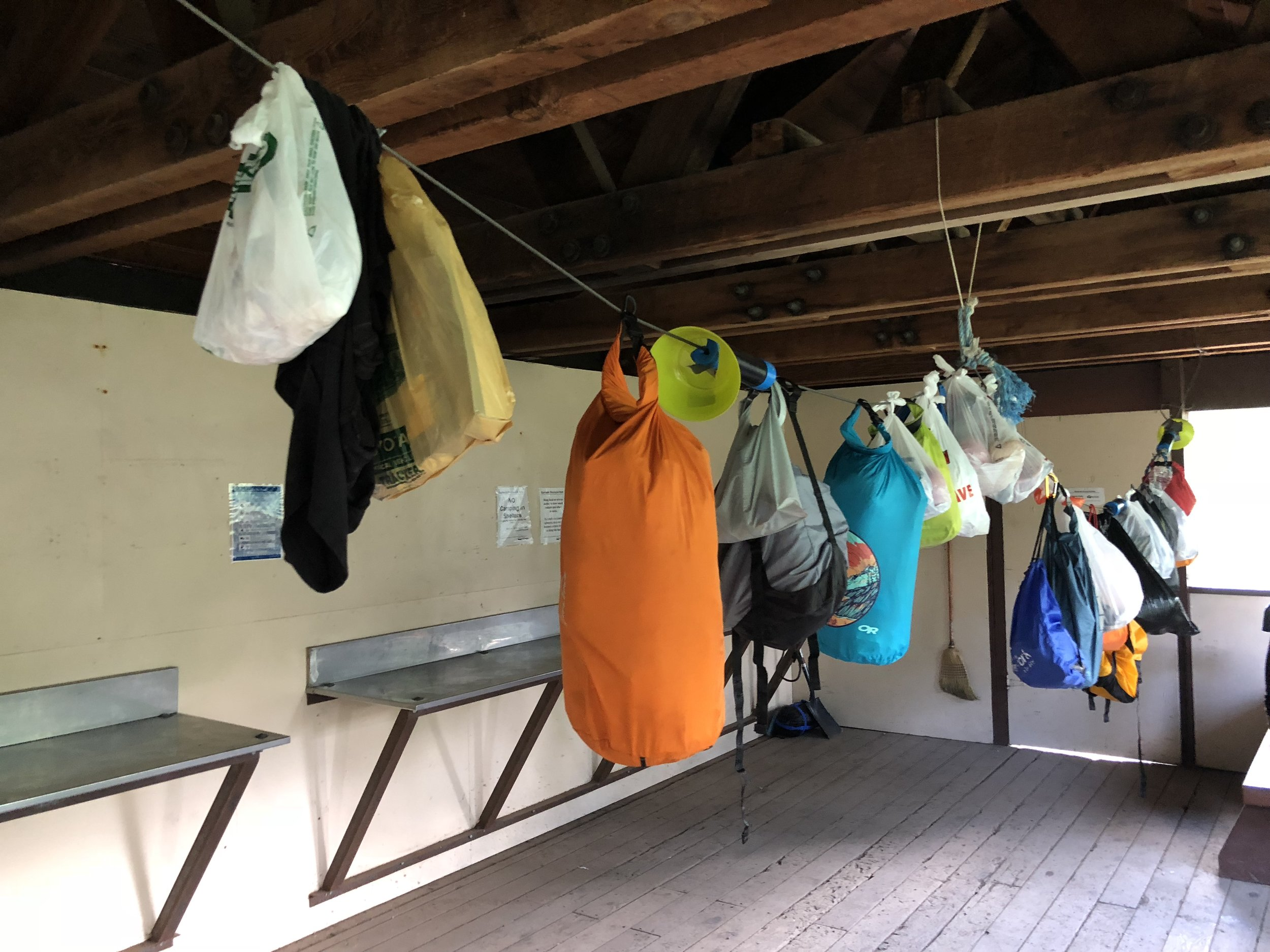 How to hang your food in the bear shelters (photo by  Doris )