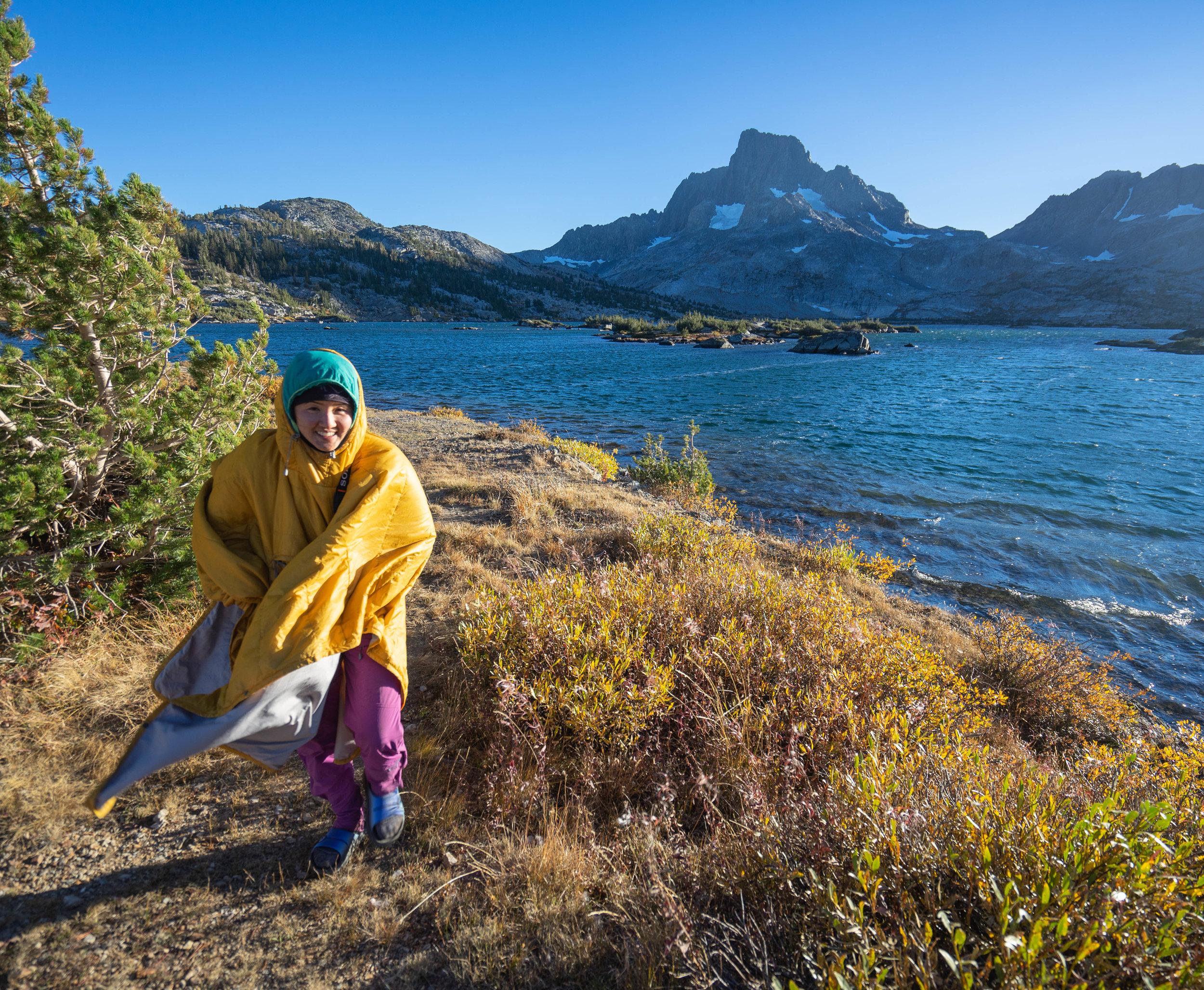 Paulina wandering around the lake in her Poncho
