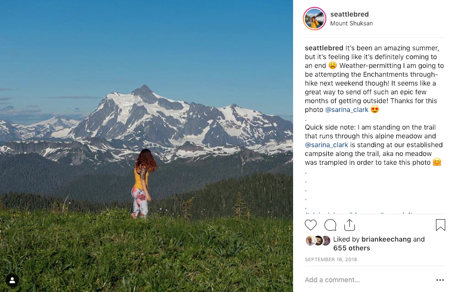 When I posted this photo I realized it looked like I was standing in the middle of a fragile alpine meadow, even though I am standing on the trail. I added a note in my caption to call this out.