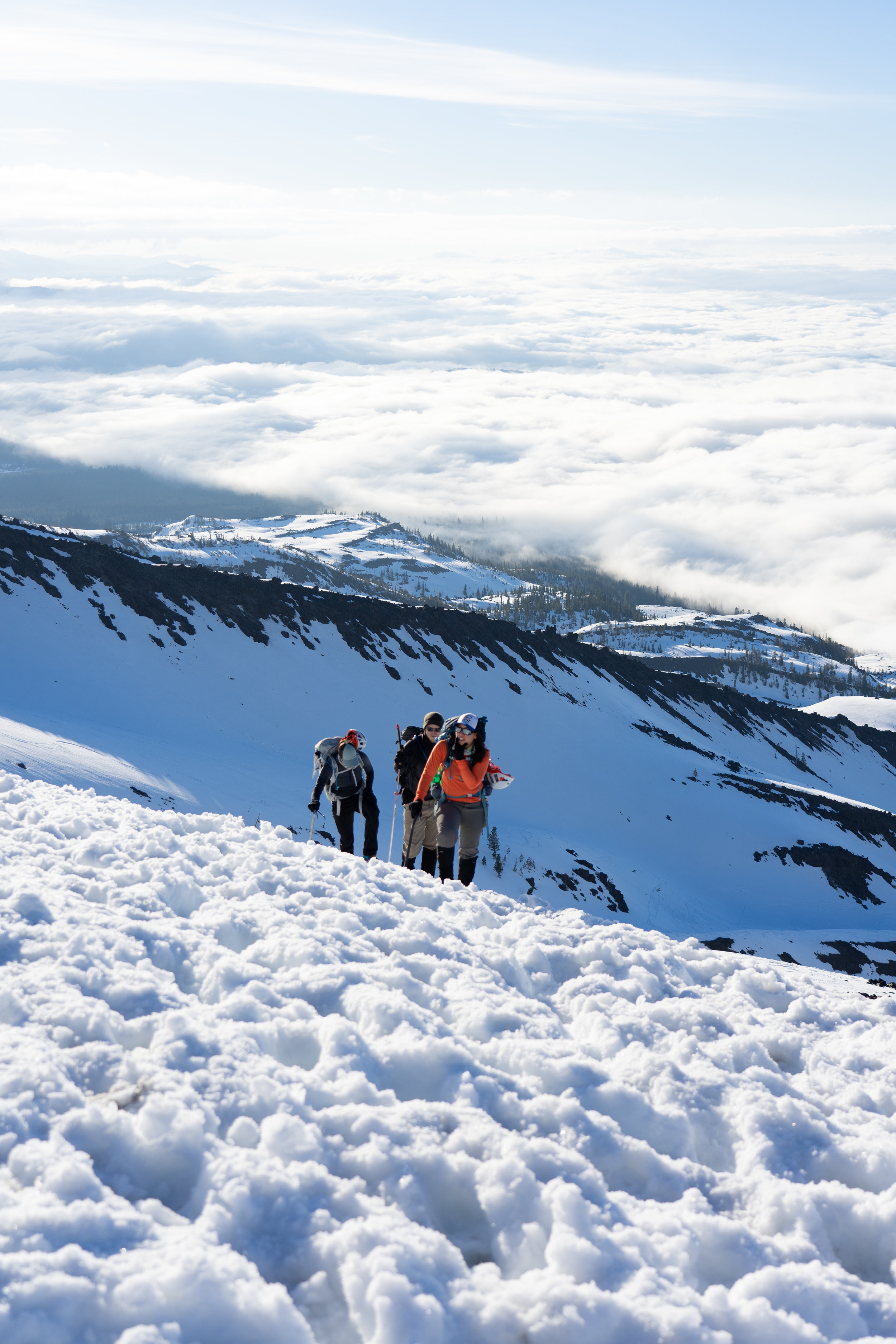My group making their way up Mount Saint Helens after sunrise.
