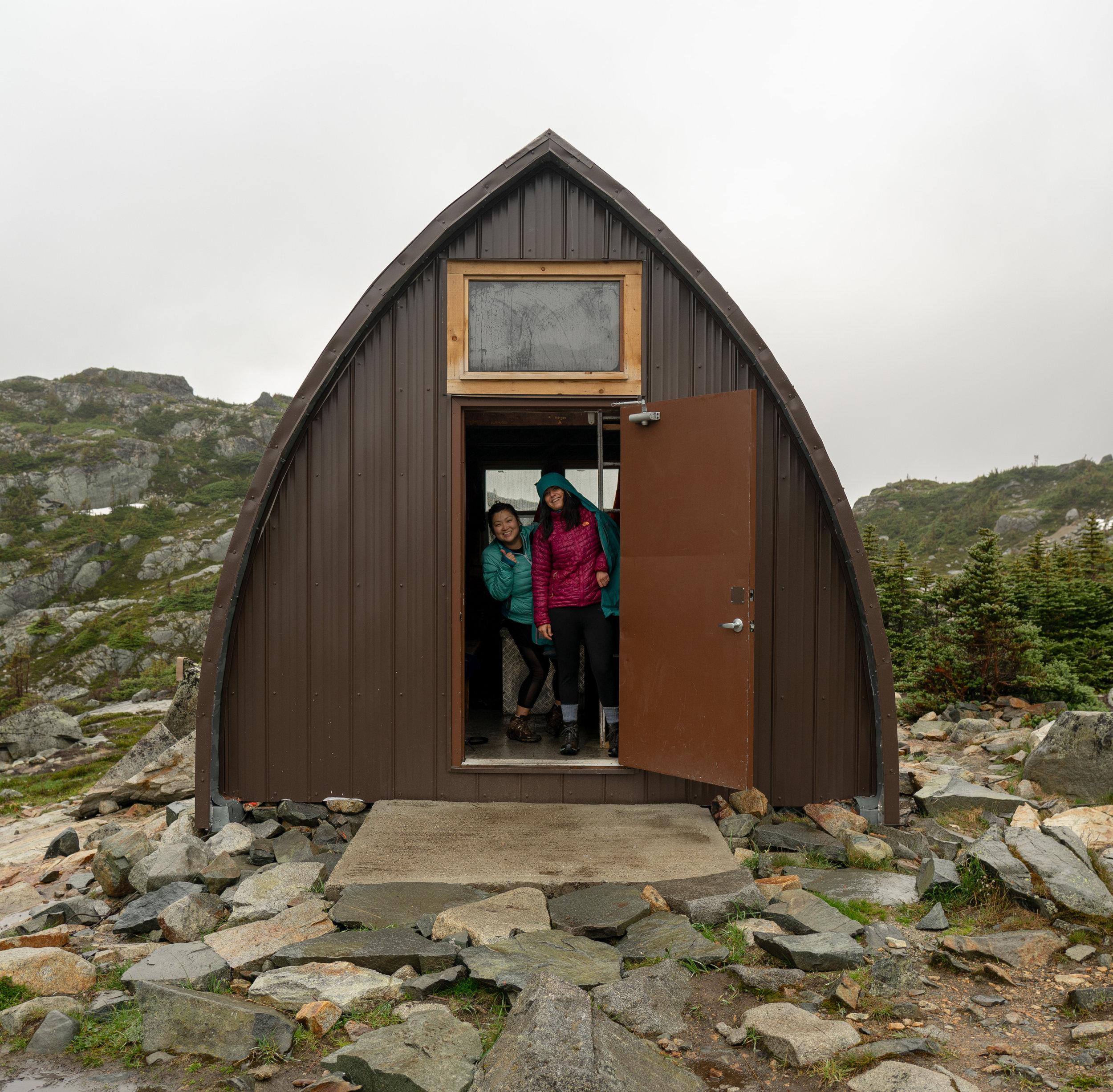 Doris and Katherine in the hut at Wedgemount lake