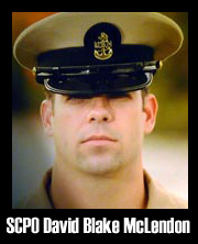U.S. Navy Senior Chief Cryptologic Technician David Blake McLendon, 30, of Thomasville, GA, assigned to Naval Special Warfare Group 2 Support Activity in Norfolk, VA, was killed September 21, 2010, in a helicopter crash during combat operations in the Zabul province of Afghanistan.  McLendon is survived by his wife Kate McLendon, his parents David and Mary-Ann McLendon, his brother Chris McLendon, and his sister Kelly Lockman.