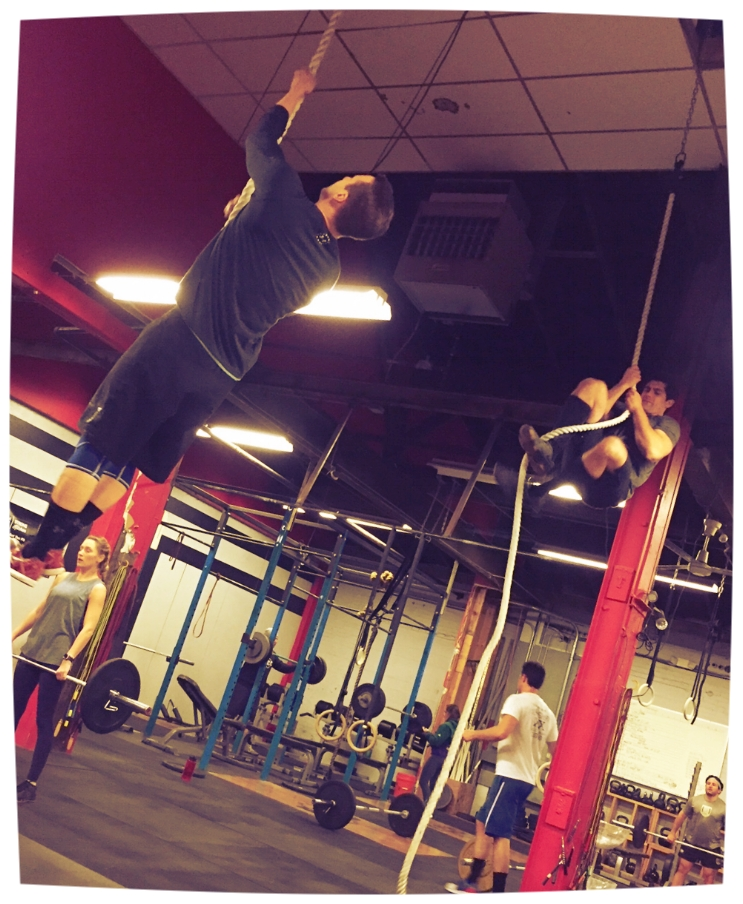 Aaron and BLee getting after some rope climbs!