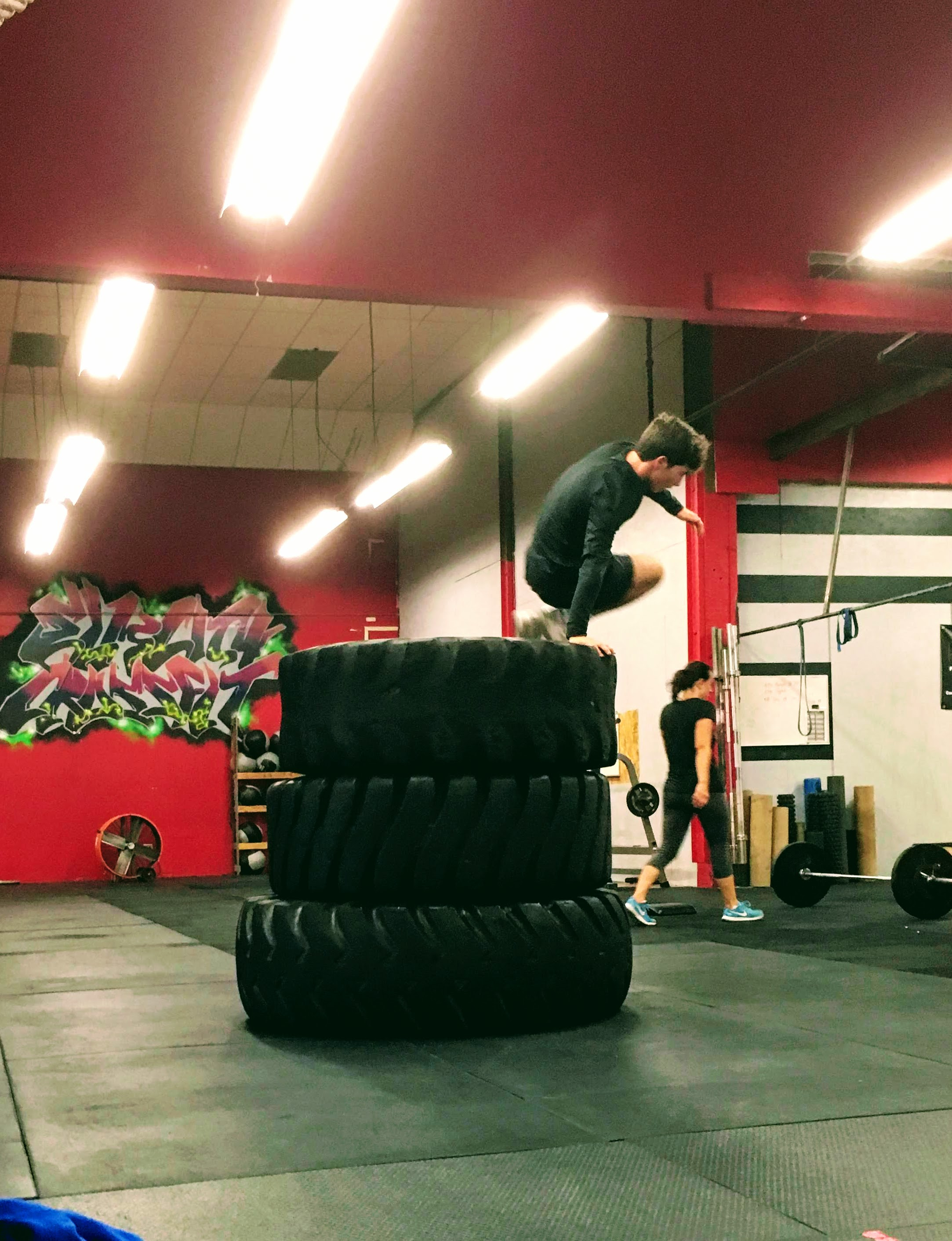 Matt takes on Tire Mountain during Tuesday's endurance obstacle course!