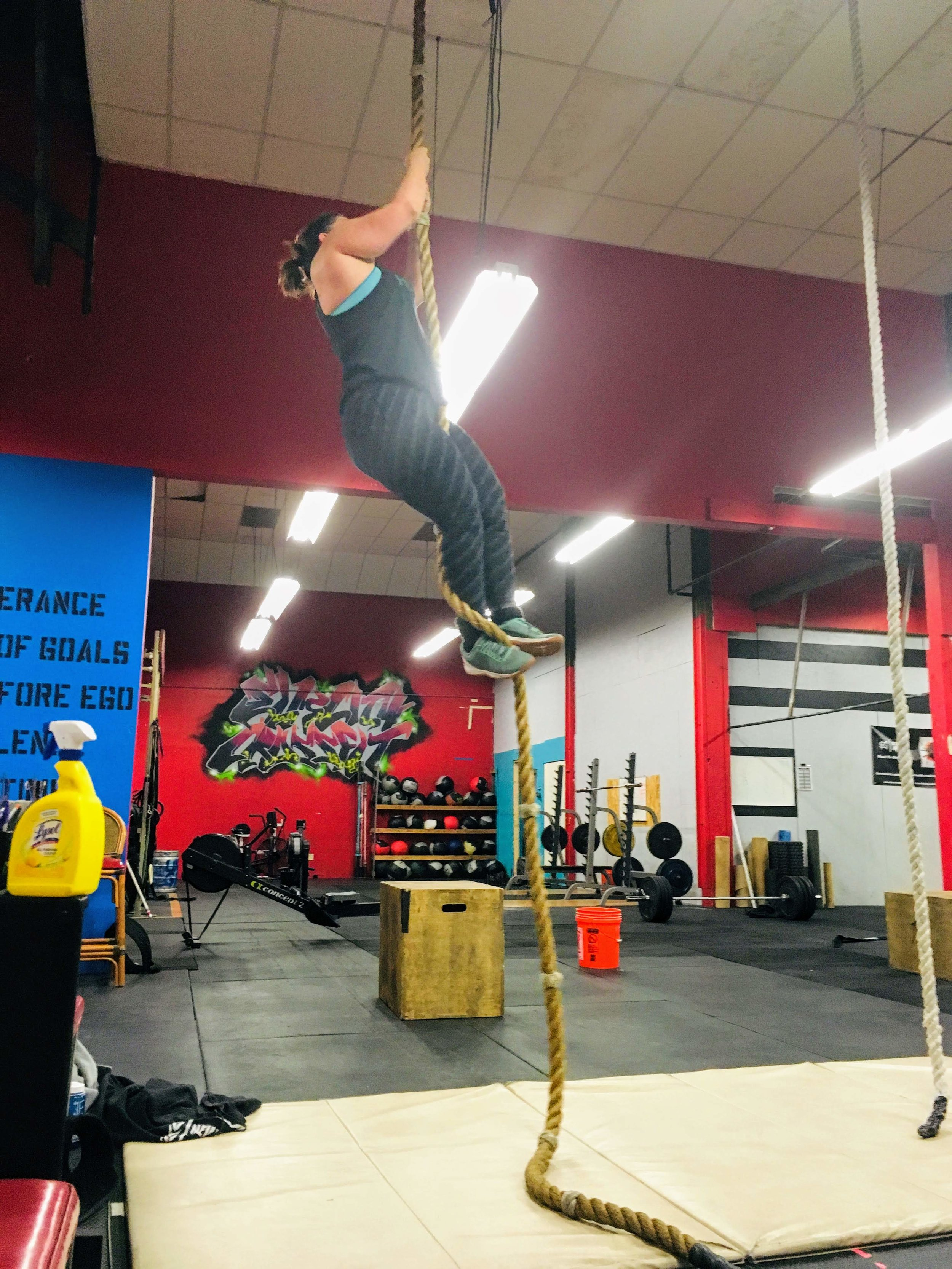 Moving on up… literally!  Awesome work on your rope climb, Marissa!