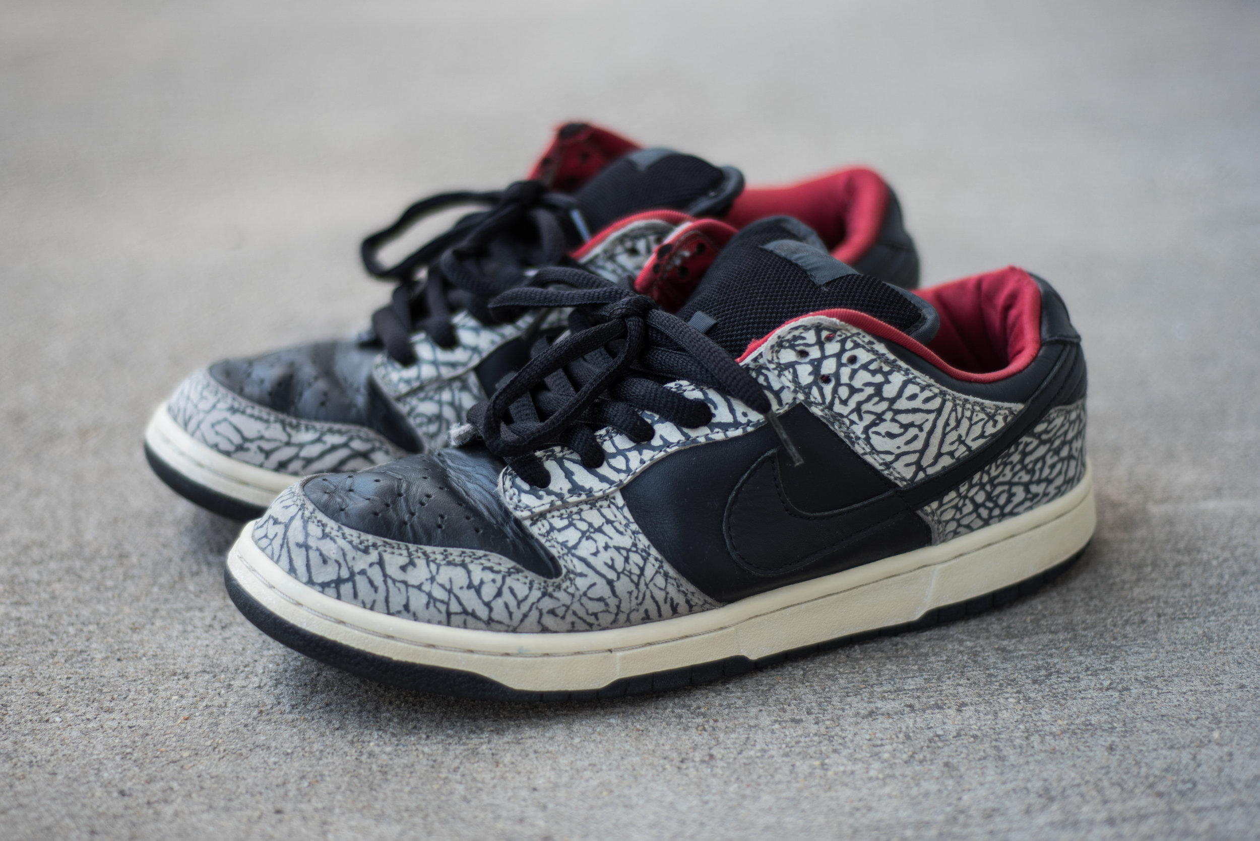My personal pair of the sneakers the mentioned article was referencing. Only 500 authorized pairs exist. They pay homage to one of Nike's most popular sneakers, the Black Cement Air Jordan III.