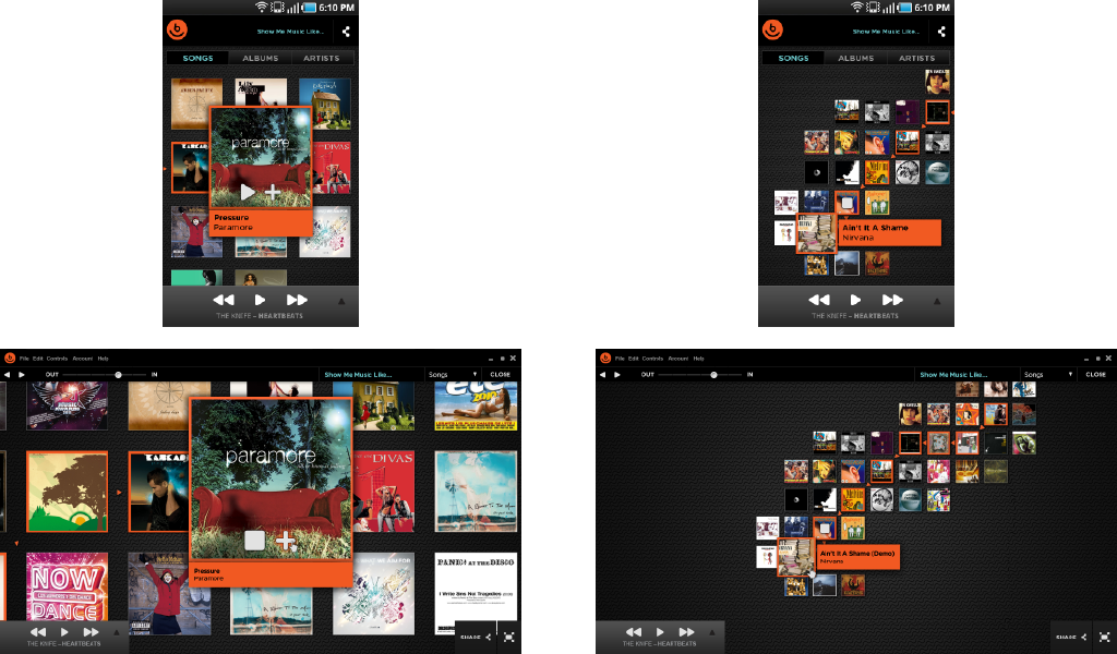 Desktop and android app final designs  Discover interface for Android Mobile and Desktop app