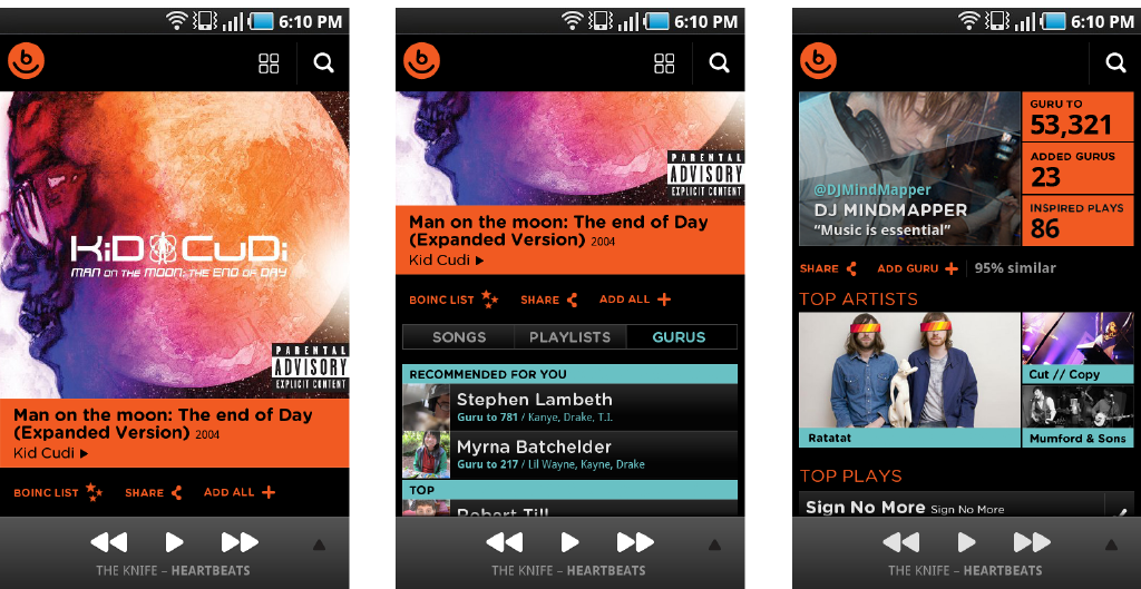 Android final designs Android mobile app screens for Album and Profile views