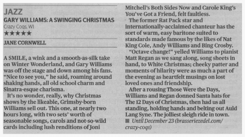 London Evening Standard review of Gary Williams and A Swingin' Christmas, 2014