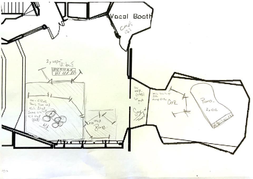 Floor plan from Abbey Road studios, recording of Swingin' on Broadway 2008.