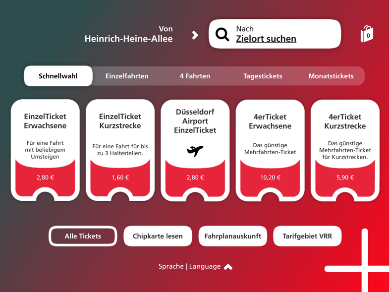 Design-Entwurf der neuen Ticketautomaten-Benutzeroberfläche