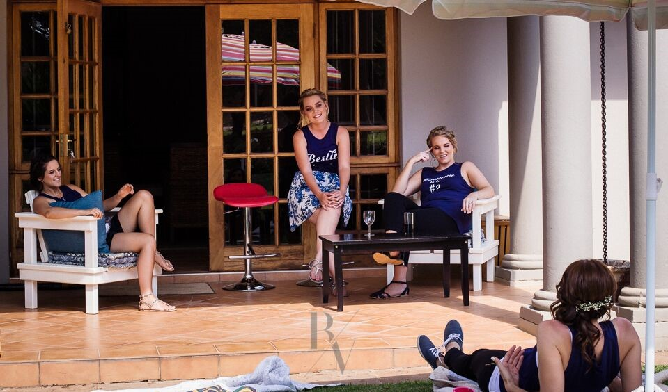 December 2017 - Melanie Terblanché, and her bridesmaids in a relaxed mood at Guesthouse @ 56, after their hair and make-up had been done.