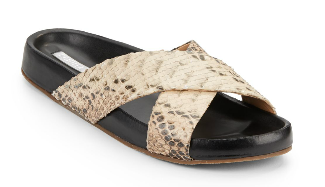 Schutz snake-embossed slide sandal- $69.99 (was $140)