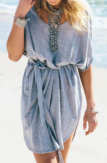 Romwe grey t-shirt dress- $11
