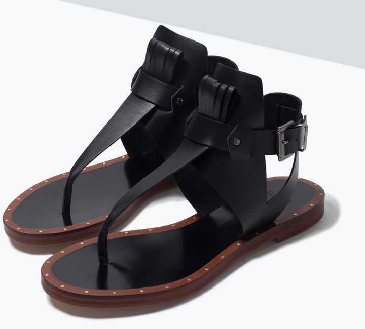 Zara leather thong sandals- $29.90 (was $89.90)