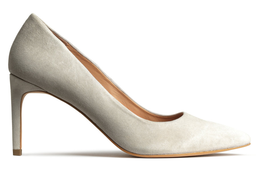 H&M suede pump- $34.99 (was $59.99)  Loafers may be trending but suede pumps in a neutral hue are forever.