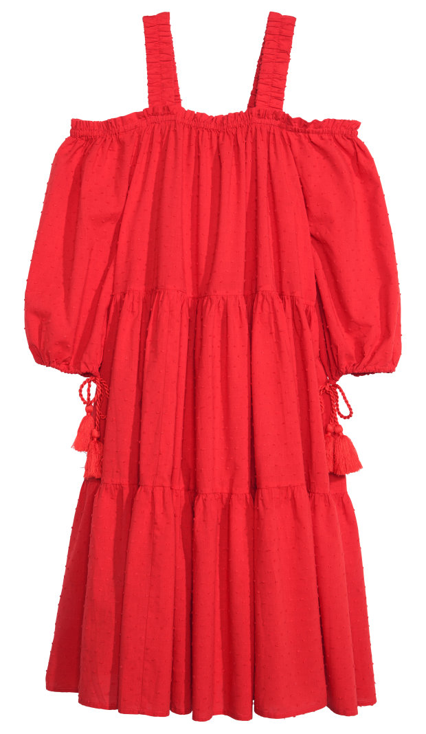 H&M Off-Shoulder cotton swiss dot dress- $19.99