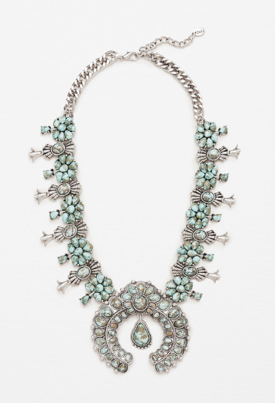 Zara faux-turquoise squash blossom necklace- $29.90