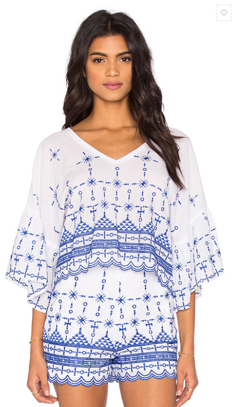 "Bardot ""Satorini"" peasant top- $31 (was $109)"