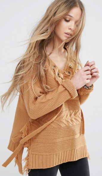 Moon River lace-up sweater- $34.99 (was $80)