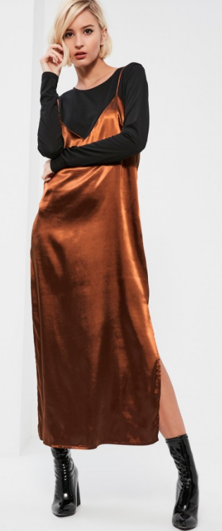 Missguided satin two-fer dress- $54