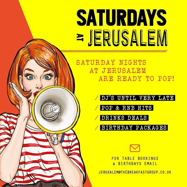 S A T U R D A Y S @ Jerusalem 📣 We're the place to be every night of the week. Book your table, book a package and come and enjoy your night! . . . . . . . . . #jerusalem #jerusalembarandkitchen #rathboneplace #soho #happyhour #weekend #saturday #artwork #wednesday #wednesdaywisdom #alcohol #ginbar #latenightvenue #newmenu #hiddengems #london #londonfashion