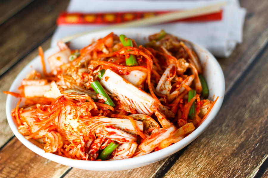 A typical dish of kimchi, or fermented cabbage.