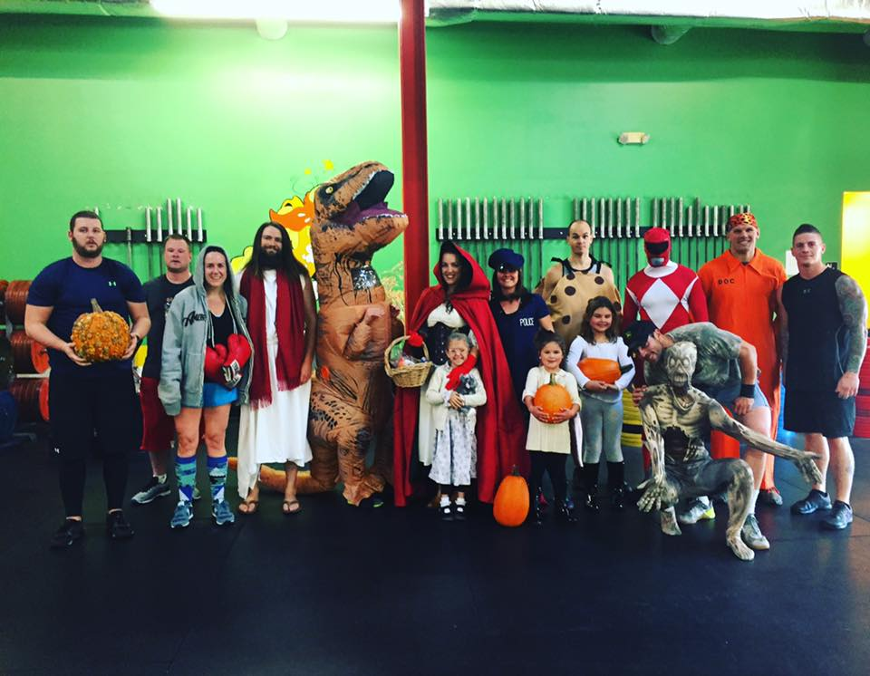 8 am Saturday WOD group in costume.