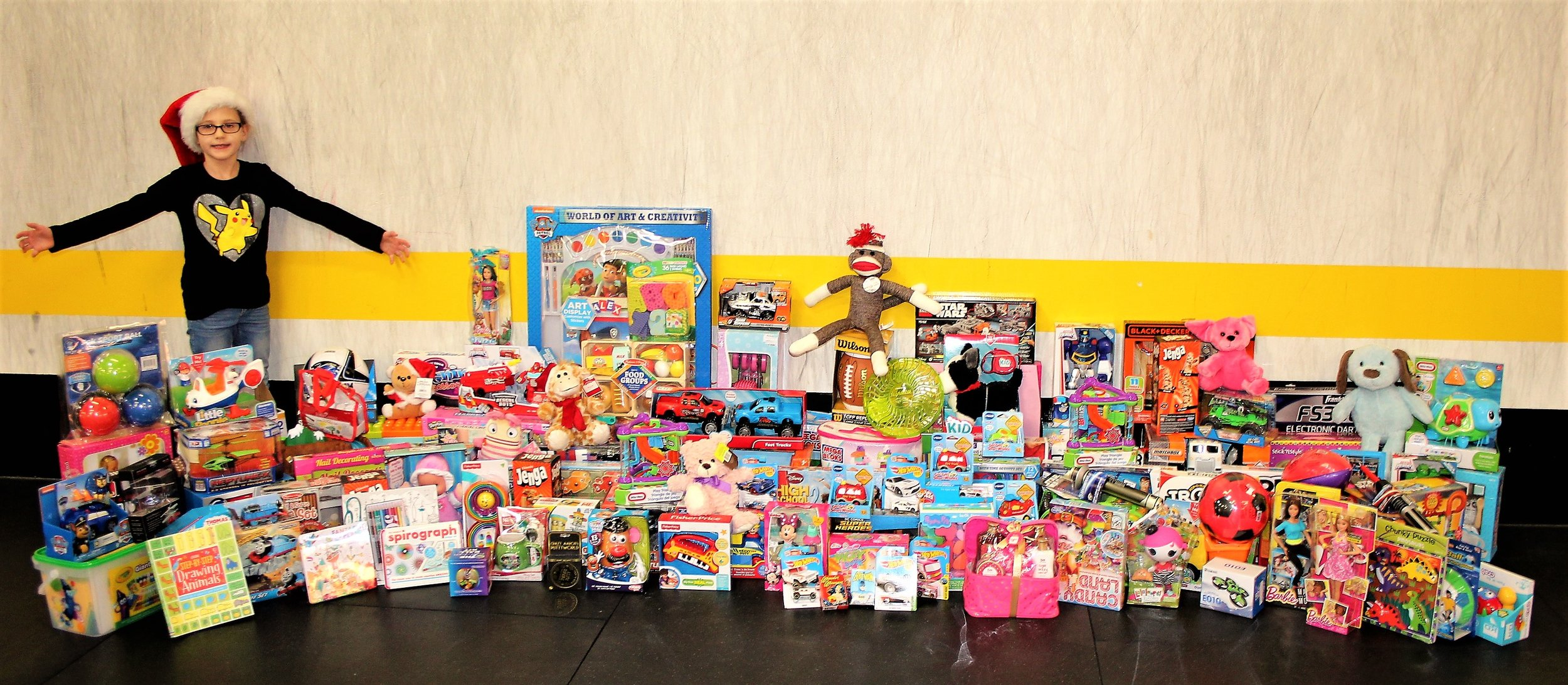 We collected 123 toys for the Toys for Tots drive this year! We are so happy and thankful for everyone that donated. We collected 42 more toys than last year. Woohoo!