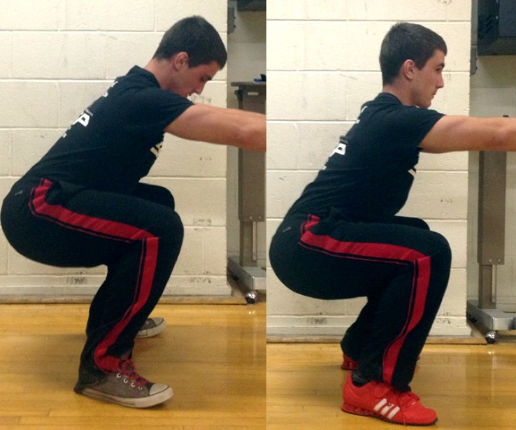 Notice how the athlete can squat deeper while maintaining a better upright position in the Oly shoes versus the Chuck Taylor shoes without the higher heel.  He also looks more stable and comfortable in the photo on the right.