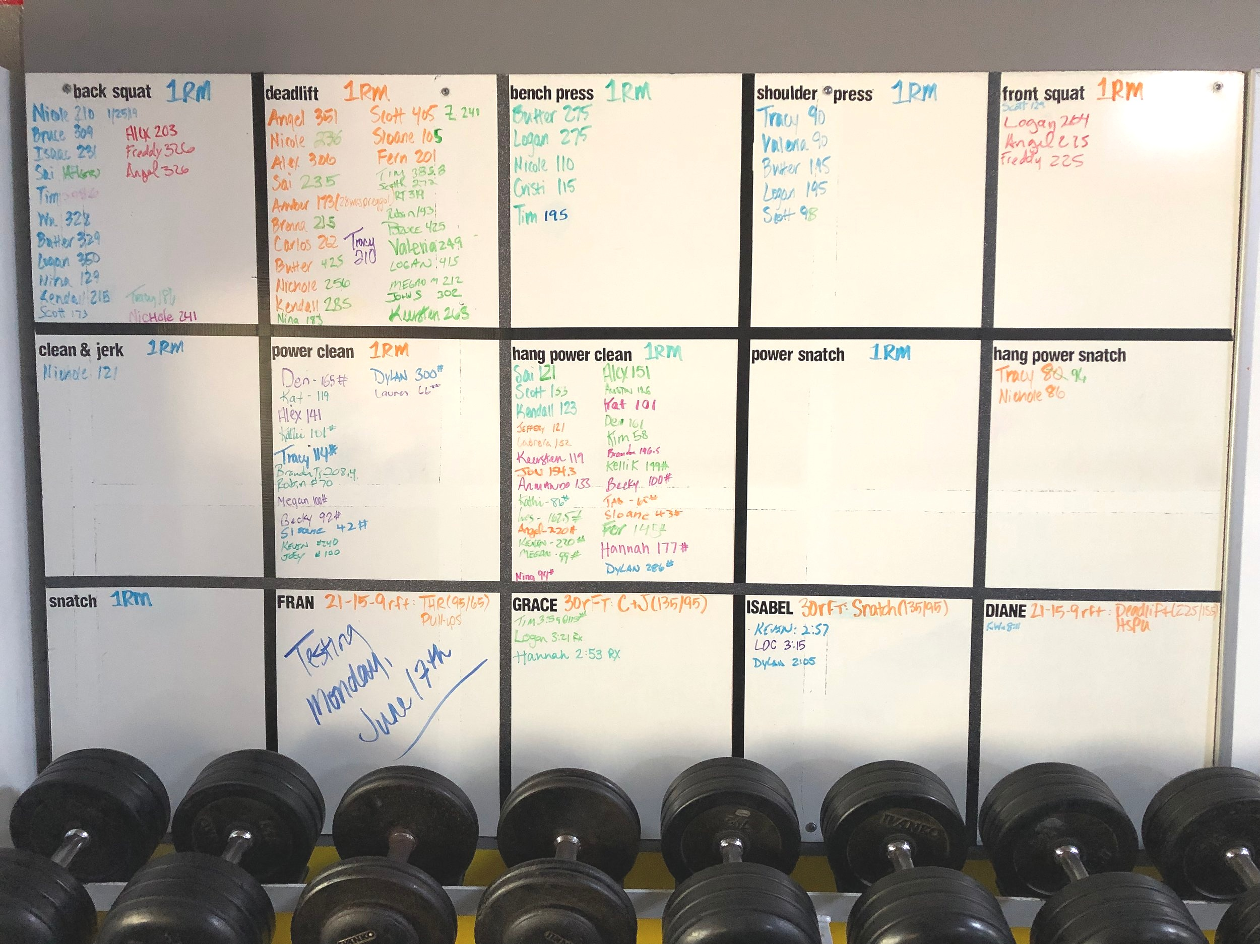 PR Board at CrossFit Frederick