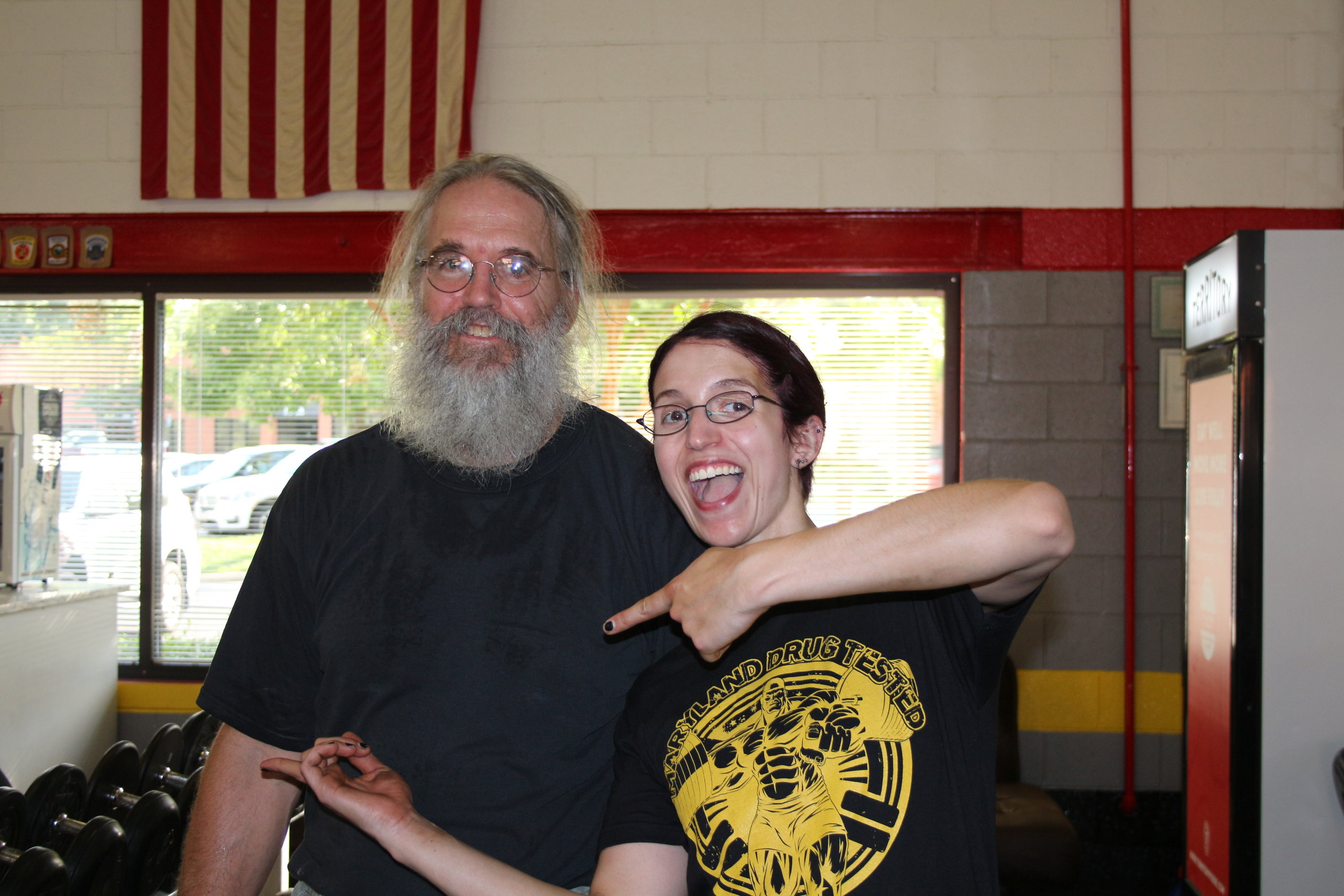 Tim Spickler with his daughter, Brenna at the Drug Tested Maryland State Championships!!! Brenna surprised her Dad by being a spotter/loader for the whole day. :)