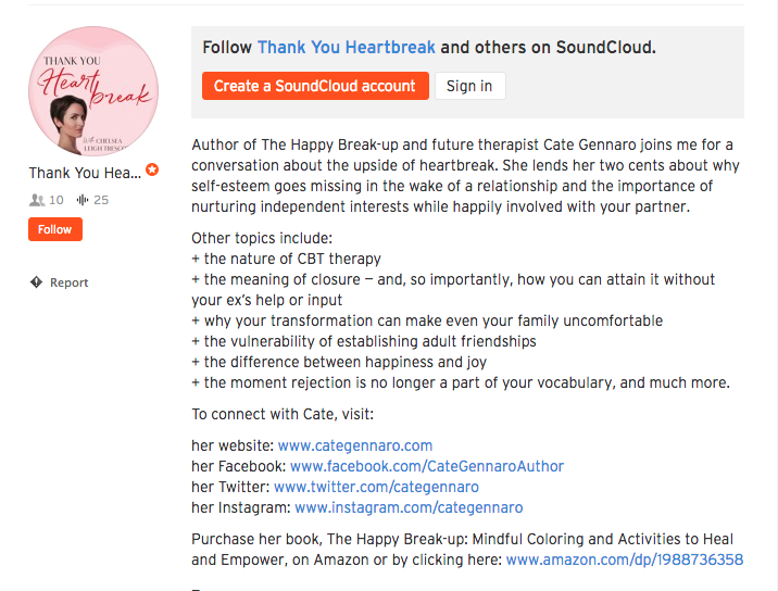 Thank You Heartbreak Podcast - Listen to my interview with Chelsea Leigh Trescott on the Thank You Heartbreak podcast.