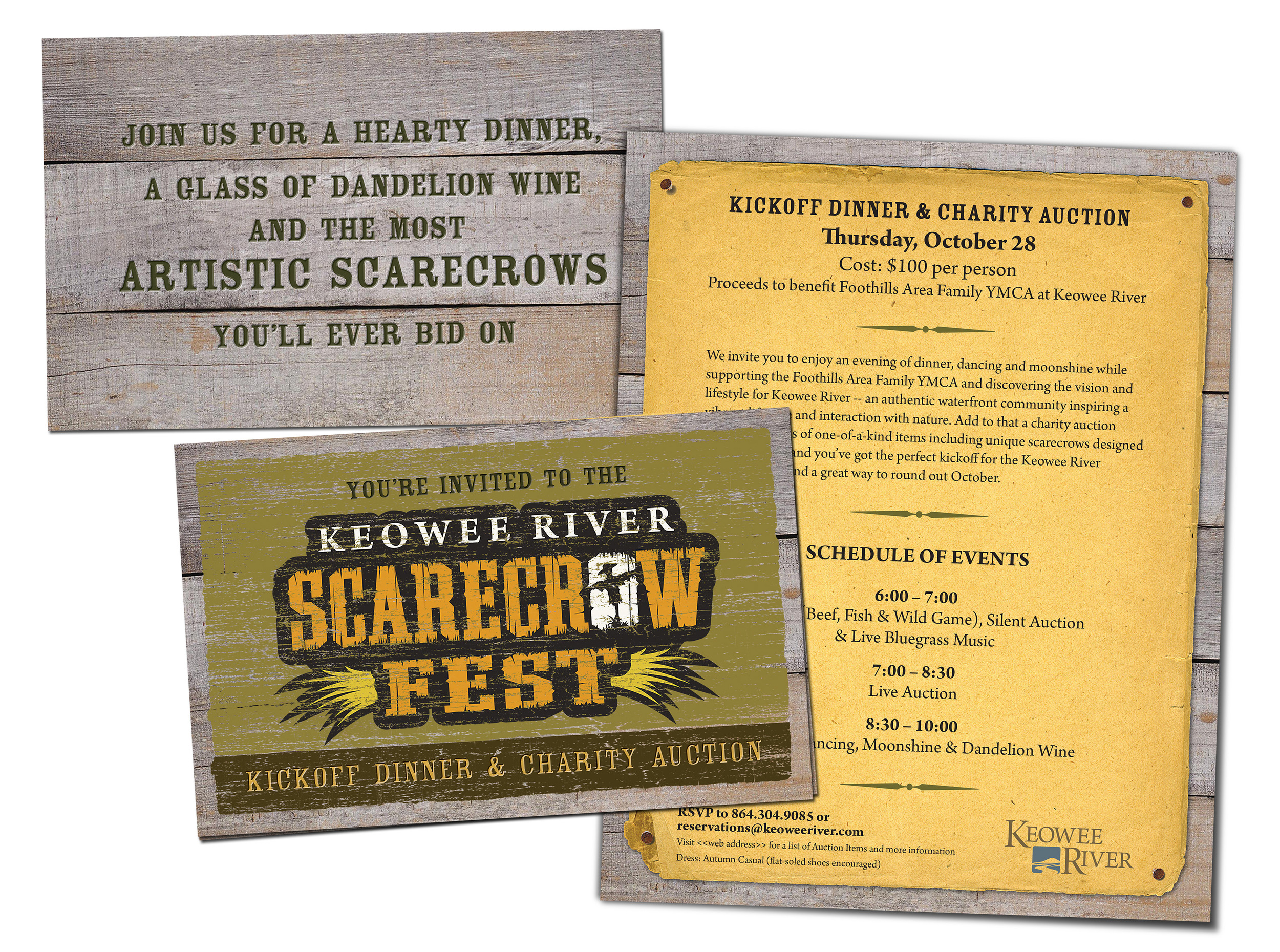 Keowee River Scarecrow Fest Kickoff Dinner and Charity Event Invitation