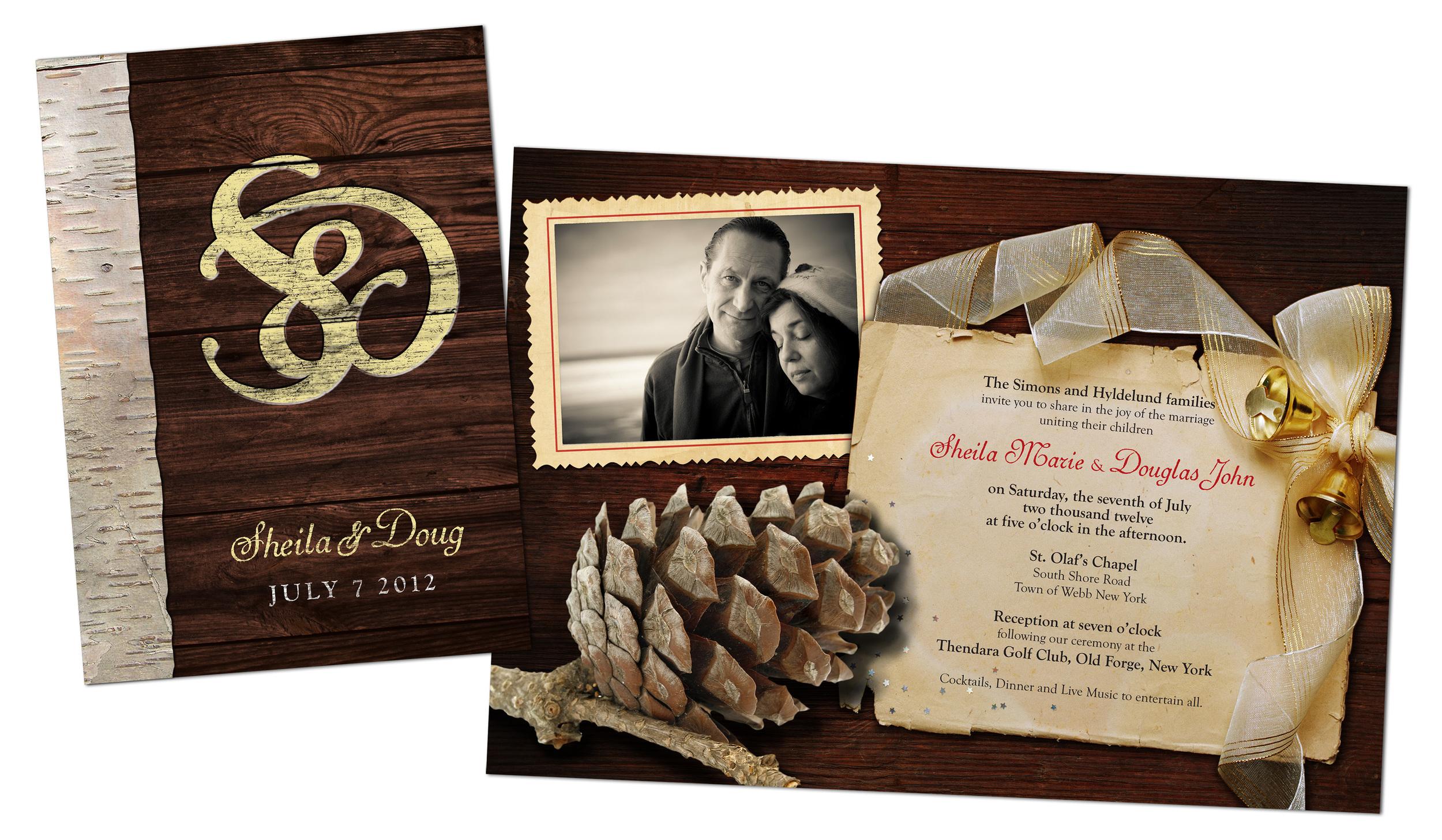 Wedding Invitation for Doug and Sheila Hyldelund.