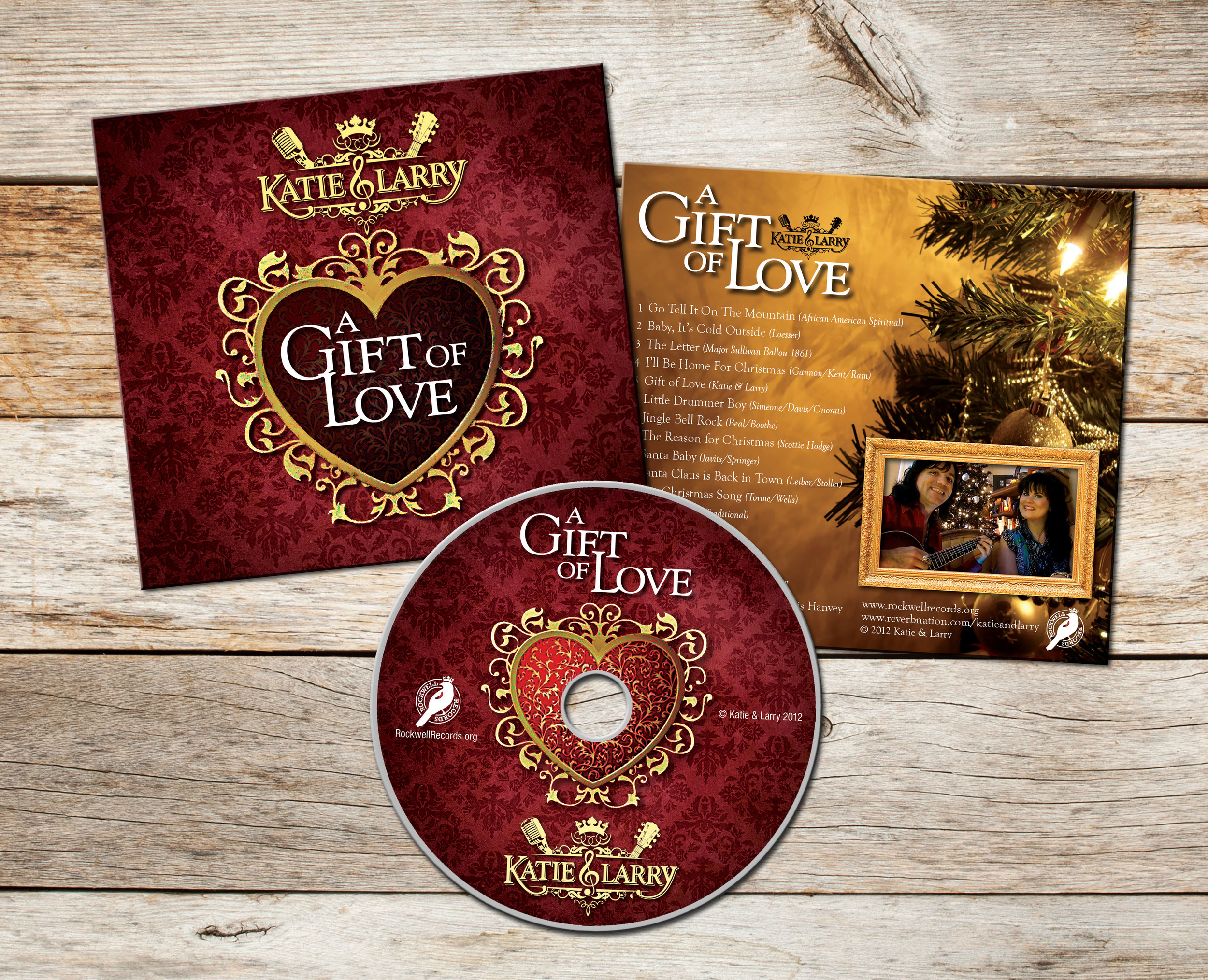 Katie & Larry Christmas CD Packaging and Label