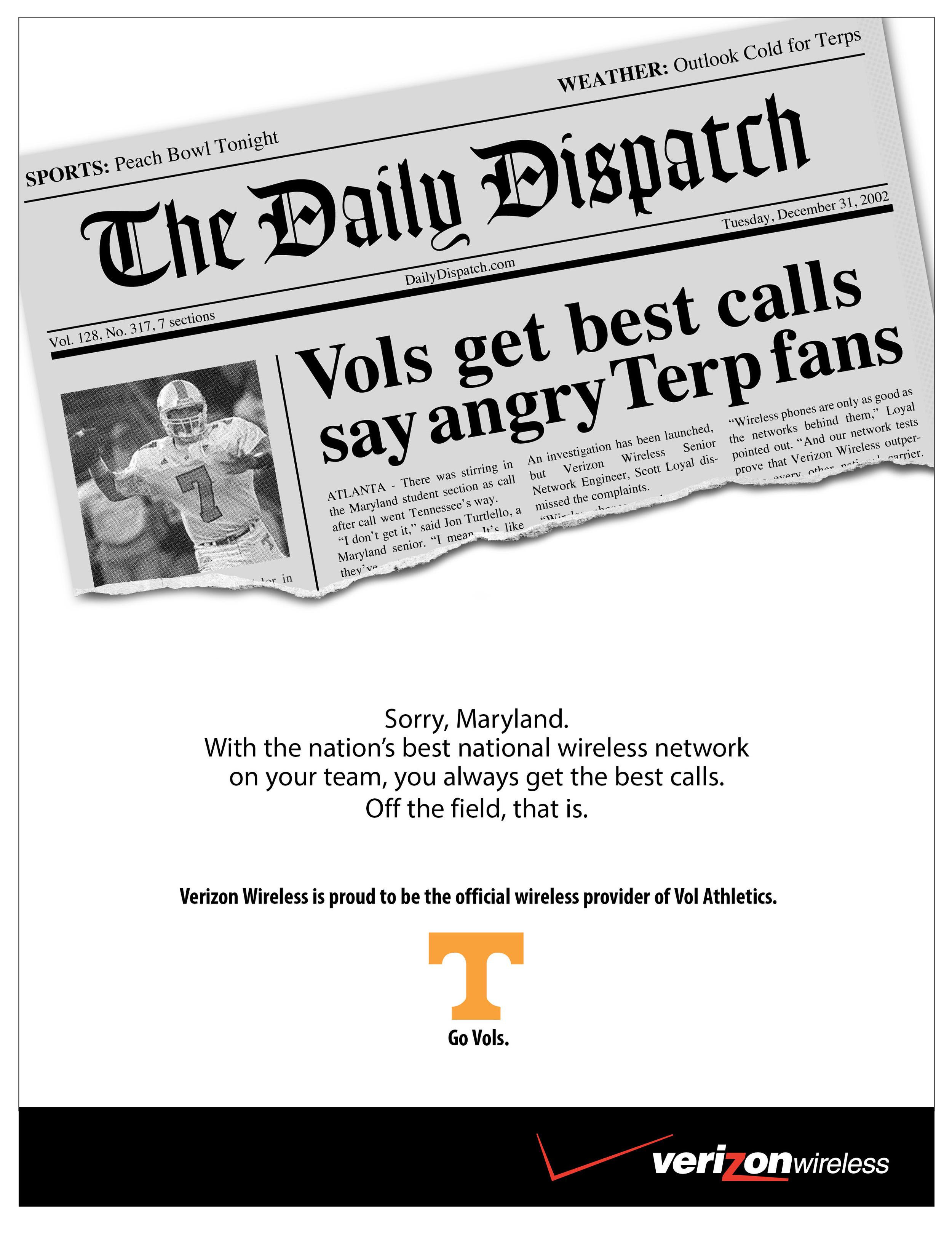 Verizon Wireless Tennessee Sponsorship Ad
