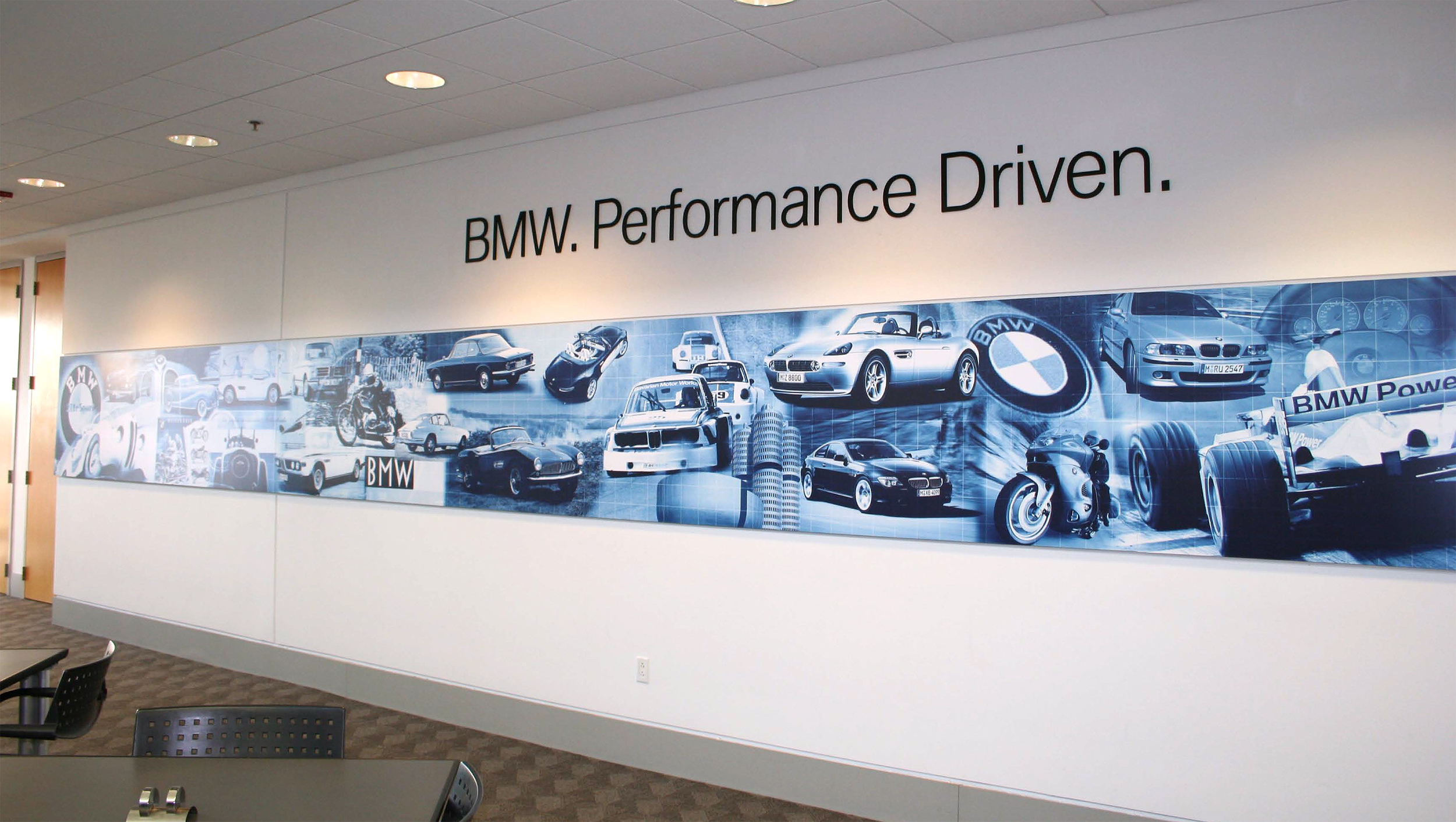 BMW Performance Center and Driving School Café Wall Graphic